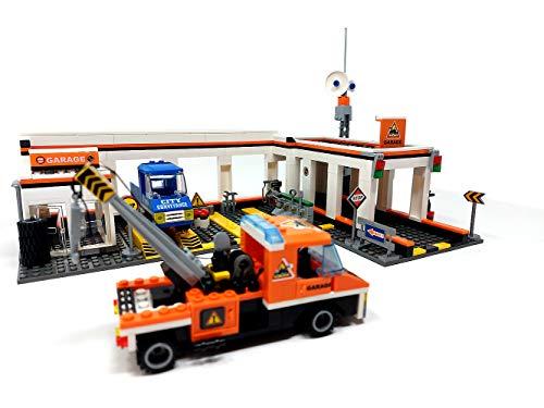 Brigamo Bausteine Autowerkstatt mit Abschlepp Fahrzeug, 443 Klemmbausteine