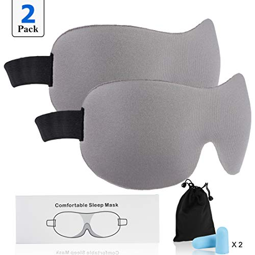Fasoar Sleep Mask Pack of 2, Lightweight and Comfortable, Super Soft, Adjustable 3D Contoured Eye Masks for Sleeping, Shift Work, Naps, Night Blindfold Eyeshade for Men and Women Grey
