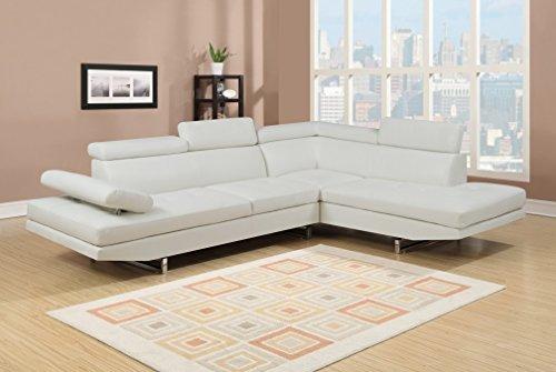 Canapé d'angle 6 places Blanc Cuir Design