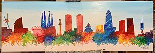 Colorido Cuadro Skyline de Barcelona, obra original. 150x50cm