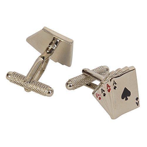 Jemz Cufflinks Boutons de manchette pour homme – 4 As – pour le joueur de cartes – en coffret cadeau marron aimanté