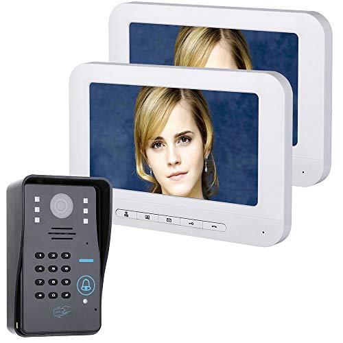 COUYY Timbre de 7 Pulgadas LCD 2 Pantalla RFID Password Video Teléfono Intercomunicador Timbre con IR-Cutcamera 1000 TV Línea de Control Sistema de Control