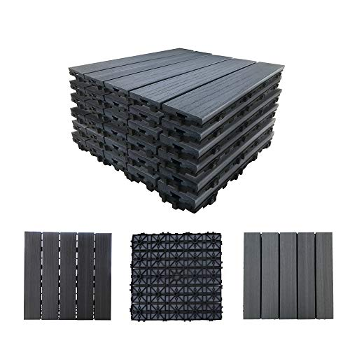 "Abba Patio Decking Tiles Interlocking Floor Tiles, 12.4""x12.4""Waterproof Outdoor Flooring or Patio Pavers for Patio, Basement, Balcony, Board, Backyard, 4-Slats Straight Pattern, (6 PCS), Dark Grey"