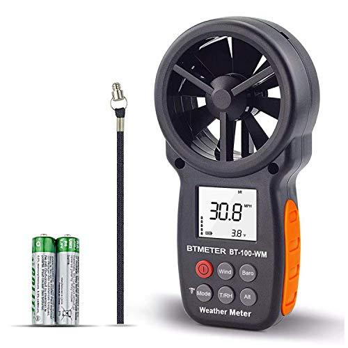 BTMETER Digital Anemometer Barometer Handheld, für Windgeschwindigkeit Temperatur Wind Chill Tester mit Luftfeuchtigkeit, Höhe, barometrischen Druck Meter für Klettern Drohne HVAC CFM BT-100WM