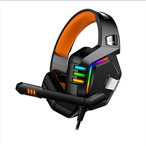 HAEEP Over-Ear-Kopfhörer - PC-Gaming-Headset, weiche Memory-Ohrenschützer mit Mikrofon-Bass-Surround für Computer-Laptop-Switch-Spiele - rot