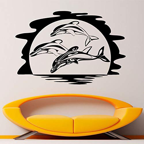 HNXDP Delfines Océano Animal Etiqueta de la pared Vinilo Interior Decoración del hogar Mar Animal Sala de estar Calcomanías de baño Murales extraíbles63x42cm