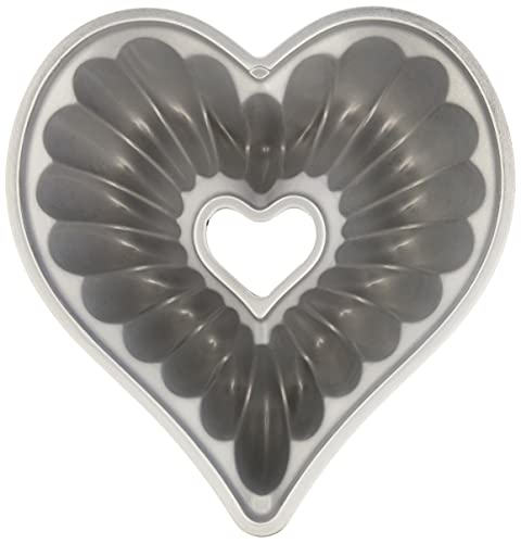 Nordic Ware Elegant Heart Cast Aluminum Bundt Pan, 10 Cup, Toffee