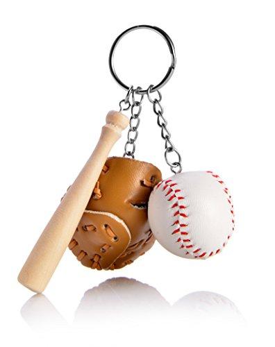 REINDEAR Novelty Baseball Bat Glove Set Pendant Keychain (Coffee)