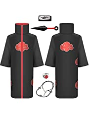 OKJ Unisex Children Adult Itachi Ninja Long Robe Akatsuki Organization Members Cosplay for Naruto Cloak Coat Halloween Cosplay Costume Uniform Black and Red (Medium)