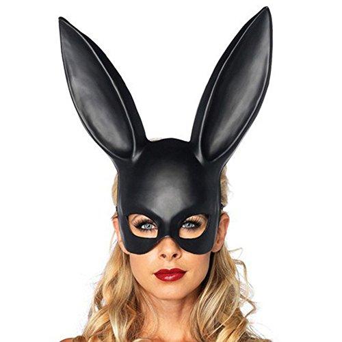 Bescita6 Matt Ostern Kaninchen Maske Matte Easter Party Hasenohren Maske Half Face Masks Nachtclub Bar Maskerade (Schwarz)