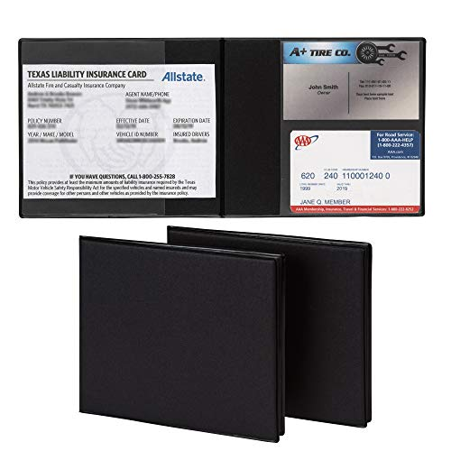 """Samsill 2 Pack Registration and Insurance Card Holder, 5.25"""" x 4.75"""" Black Glove Box Organizer, Perfect for Multiple Vehicles"""