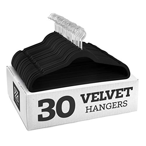 Zober Non-Slip Velvet Hangers - Suit Hangers (30-pack) Ultra Thin Space Saving 360 Degree Swivel Hook Strong and Durable Clothes Hangers Hold Up-To 10 Lbs, for Coats, Jackets, Pants, and Dress Clothes