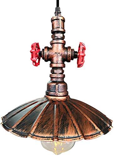 JUJ® Industria Retro Cuerda de cáñamo Lámpara suspendida Candelabro Ajustable Tubo de Agua de Metal Steampunk Base de luz Colgante E27 Restaurantes Sala de Estar Cobre Rojo Ø30cm × H30cm