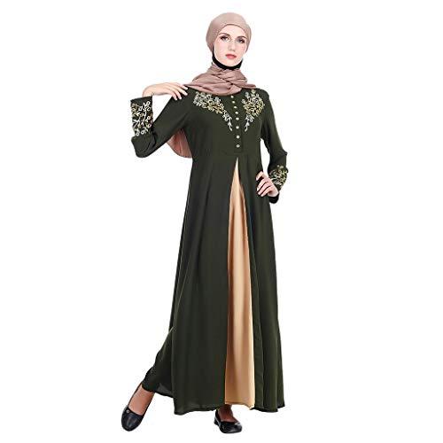 ZEELIY Damen Muslimische Stickerei Langarm Kleid Tunika Abaya Dubai Kleider Maxikleid Abendkleid Muslim Frauen Knöchellang Kleid Hochzeit Kaftan Robe Gewand Islamische Kleidung Burqa