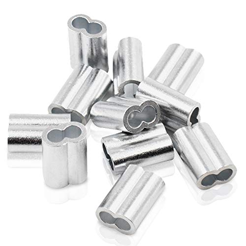Gwolf Aluminium Pressklemme, 6mm, 8mm, 10mm Aluminium-Crimpschlaufe, Pressklemmen für Seile, Würgeklemmen aus Aluminium, 3 Größen Drahtseil Aluminiumhülsen Clip Armaturen Kabel Crimps, 35 Stück