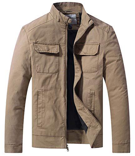 WenVen Men's Cotton Slim Fit Military Coat Utility Jacket, Khaki,S