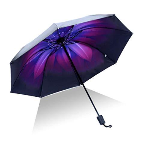 Alta calidad paraguas hombres lluvia mujer a prueba de viento grande paraguas 3D flor impresión soleado anti-sol 3 plegable paraguas al aire libre