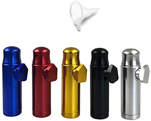 5 Pack Snuff Bullet Aluminium Metal Snuff Dispenser Snorter Bullet Rocket Shape Nasal Sniff