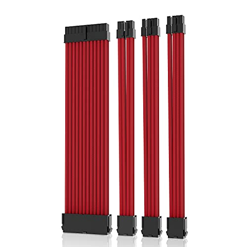 Asiahorse Braided ATX Sleeved Cable Extension Kit for Power Supply Cable Kit, PSU Connectors for ATX CPU GPU Modular Power Supply Unit /1 x 24 P/1 x 8P (4+4) CPU/2 x 8P (6+2) GPU / 30CM 11.8Inch (Red)