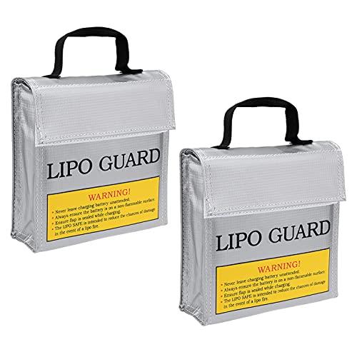 sourcing map 2uds Lipo Protector Ignífugo Antideflagrante Lipo Batería Seguridad Bolsa Carga Bolsa Saco para Carga y Almacenamiento 155x50x155mm Plata Tono