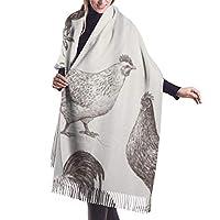 暖かい女性の毛布スカーフチキンコックと鶏のスケッチオンドリファーム手動物が描いたおんどりスタイリッシュな毛布特大の居心地の良いスカーフラップショール