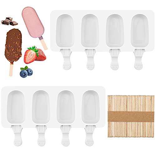 2 Stücke Popsicle Formen Set Popsicle Form Silikon EIS am Stiel Formen mit 50 Holzstielen für Kuchenform Dessertform DIY Frozen Dessert Eisformen für Kinder Erwachsene, Bpa-Frei