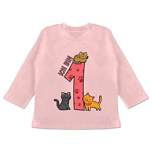 Geburtstag Baby - 1. Geburtstag Katzen - 12/18 Monate - Babyrosa - 1. Geburtstag Tshirt mädchen - BZ11 - Baby T-Shirt Langarm