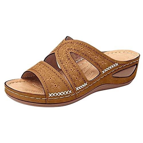 Wresella Damen Mehrfarbige bestickte für mit Plateauschuhen mit Keilfischmund SandalenSommer Mit Absatz Elegant Hausschuhe Schuhe für Sommerschuhe Beach Frühling
