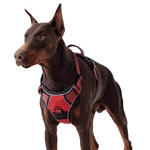 Lesure Hunde Geschirr verstellbar Brustgeschirr - Anti Zug Hundegeschirr atmungsaktiv Welpengeschirr No Pull Sicherheitsgeschirr für mittelgroße Hunde, Rot, L