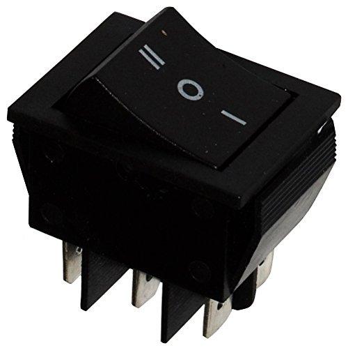 Aerzetix - Unterbrecher, Schalter Knopfschalter Switch Kippschalter Druckschalter DP3T ON-OFF-ON 15A/250V Schwarz 3 Positionen