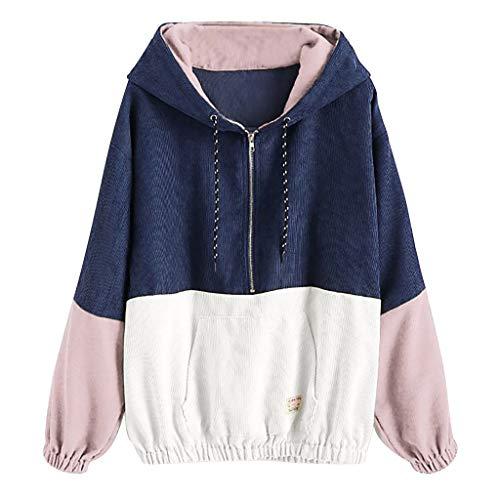 KPILP Mode Frauen Langarm Mantel Cord Farbe Patchwork Windbreaker Kapuzenjacke Reißverschluss Kurzmantel Hoodies Oversize Jacke Lässige Herbst Winter Outwear
