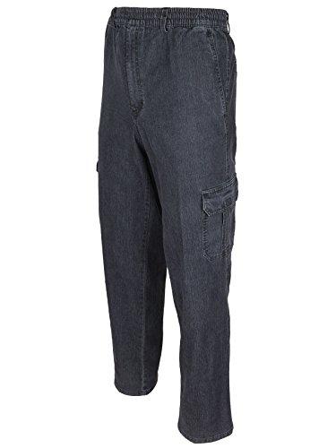 SOUNON Herren Jeans, Cargojeans, Schlupfhose Schlupfjeans, Stretchjeans Schwarz, Groesse: XL
