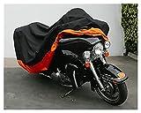 DJDEFK Funda para Bicicleta XXXL Cubierta de Motocicleta Naranja para Harley Davidson Street Glide Electra Glide Ultra Classic FLHTCU Road King Touring Honda GL