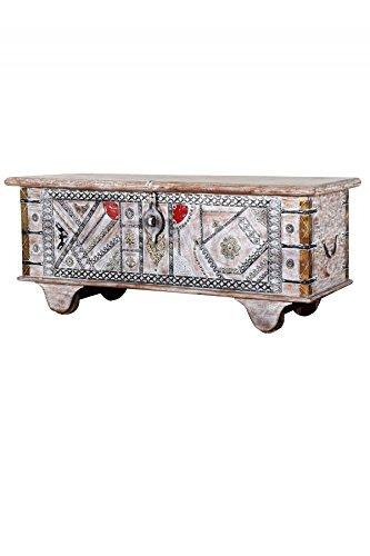 Baúl oriental de madera Chadijah de 116 cm de tamaño | Banco vintage con almacenamiento para el pasillo | Caja con tapa en el baño | Baúl de cama como baúl o decoración en el dormitorio
