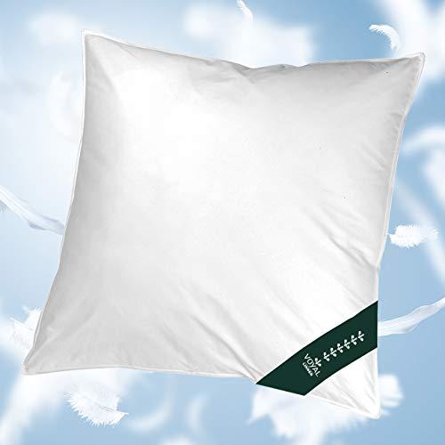VOYAL LINNEN Wiener Wolkenpolster [80 x 80cm] – Premium Federkissen, mittlere Füllmenge – Atmungsaktiv & Zertifiziert – Für Allergiker geeignet – Made in Germany