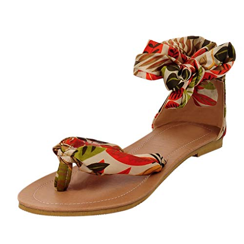 Buy Discount Fudule Flat Sandals for Women Casual Comfy Bohemia Lace-Up Sandal Shoes Summer Beach Fl...