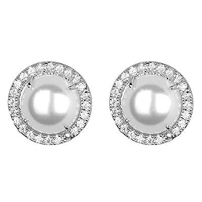 Jones New York Silver White Half Cut Pearl Mini Crystal Rhinestones Stud Earrings
