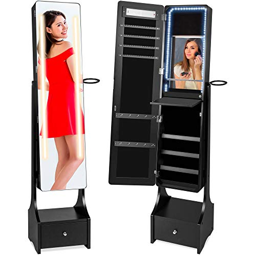 Best Choice Products Full Length Standing LED Mirror, Jewelry & Makeup Storage Cabinet Armoire w/ Interior & Exterior Lights, Lockable Magnet Door, Touchscreen, Velvet Lining, Shelves, Drawer - Black