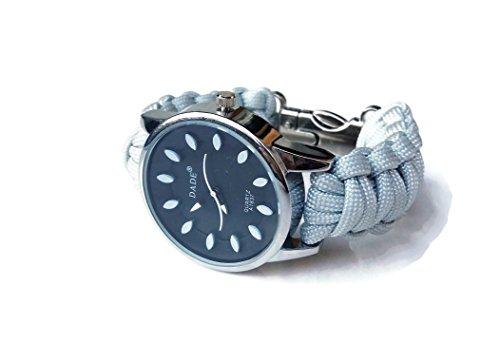Orologio da polso 15,5 cm paracord grigio Bracciale unisex di corda Regalo personalizzato uomo donna