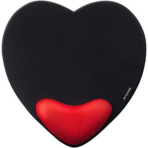 EXCO Alfombrilla de ratón reposamuñecas Gel de reducción de Fatiga Integrado Amortiguador de muñeca de Moda Regalo de San Valentín - Negro