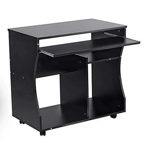 EBTOOLS Escritorio De Oficina, Mesa De PC Material De Aglomerado Negro con Ruedas En La Parte Inferior para Oficina para Estudio