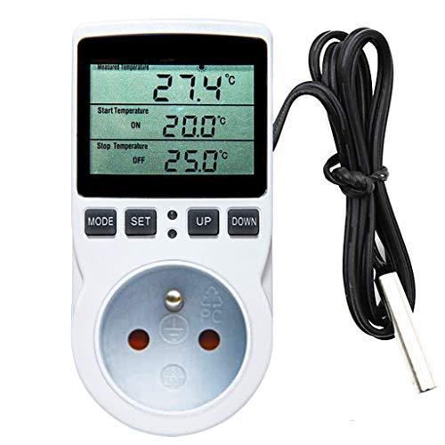 Temperaturregler Temperaturschalter 230V mit mit Timer und Sonde Steckdosenthermostat Schalter für Gewächshaus Terrarium Aquarium Treibhaussaatkeimung Heizung Kühlung
