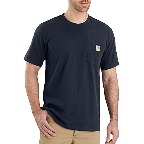 Carhartt Pocket Short-Sleeve T-Shirt Camiseta, Navy, L para Hombre