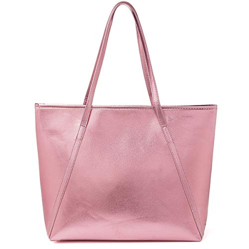 PU Leder Handtasche Damen Gross, OURBAG Schultertasche Damen Handtasche Silber rosa metallic Shopper Rosa