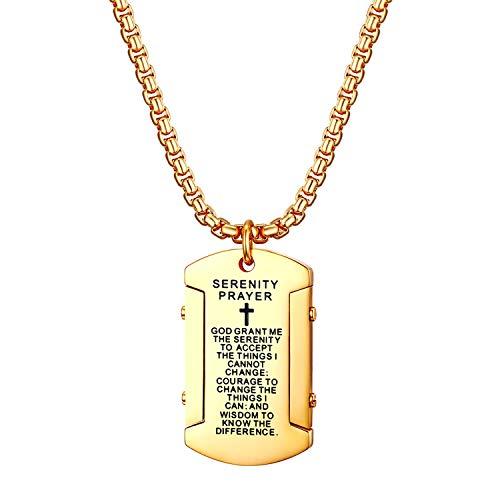 OIDEA Collana da Uomo Dog Tag in Acciaio Inox con Pendente Croce Bibbia(Inglese) alla Moda Regalo Perfetto Colore Oro