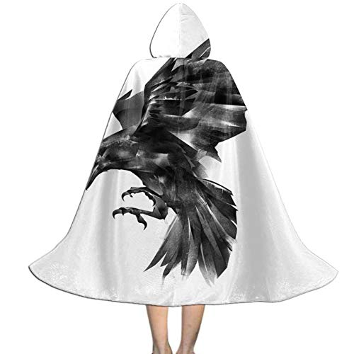 Capa con Capucha de Cuervo gtico Negro Polister Fiesta de Halloween Cosplay Disfraz Capa Nios L