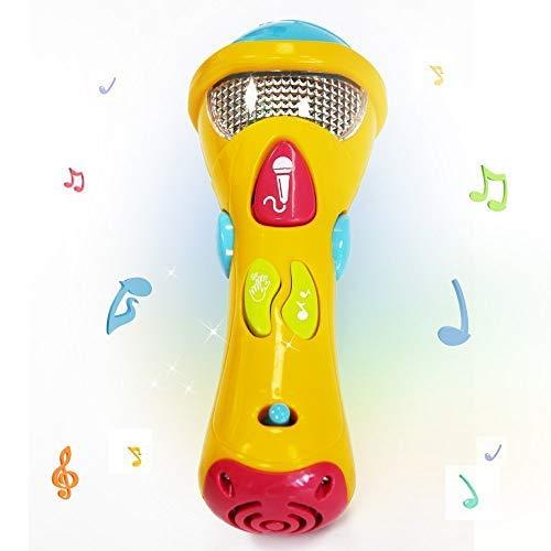 Xrten Juguete de Micrófono de Karaoke Musical, Juguetes para Niños Infantil, Micrófono con Grabación de Voz, Cambiador de Voz, Luces Coloridas