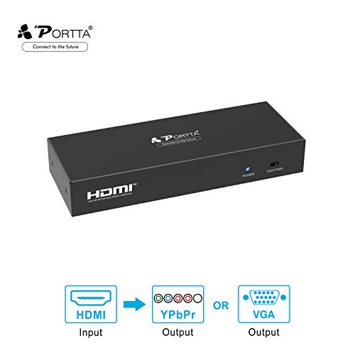Portta HDMI Converter HDMI to VGA or YPbPr Component Plus R/L Analog Audio Spdif Optical Output Converter Support 720P 1080P Metal Case for PS3 PS4 Blu-ray DVD XBOX