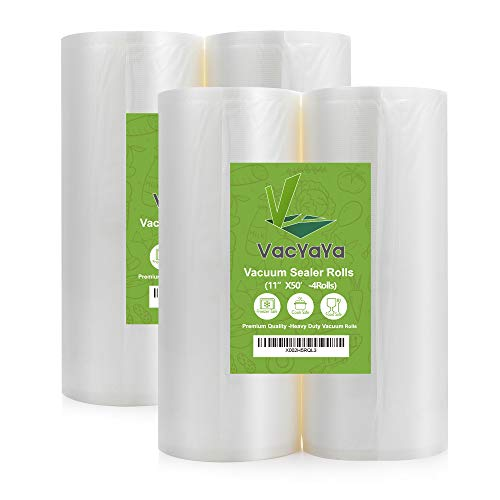 VacYaYa 4 Pack 11X50 Rolls (Total 200 feet) Food Saver Vacuum Sealer Bags Rolls with BPA Free,Heavy Duty,Great for Sous Vide and Vac Seal storage Rolls