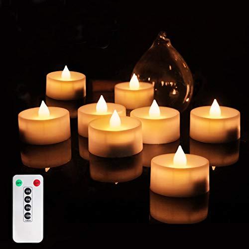 6 Stück LED Kerzen-Set,Fernbedienung Timer Kerzen,Batterien Beleuchtung Kerzen,LED Teelichter mit Timer,Flacker Effekt Timer,Farbwechsel Farbige Leuchtmittel,flammenlose Kerzen,LED Teelichter C